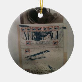 Historia de la aviación de la letra del vintage adorno redondo de cerámica