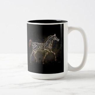 Historia de los regalos del caballo y de los casos taza de dos tonos