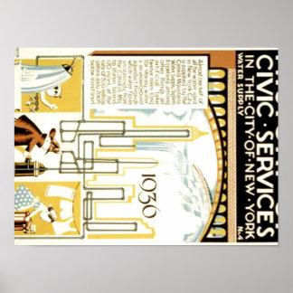 Historia de servicios cívicos en el poster de