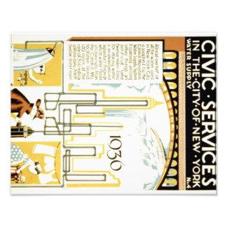 Historia de servicios cívicos en el poster de cojinete