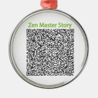 Historia del amo de zen en código de QR Adorno Redondo Plateado