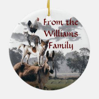 Historia del animal de la diversión de los músicos adorno navideño redondo de cerámica