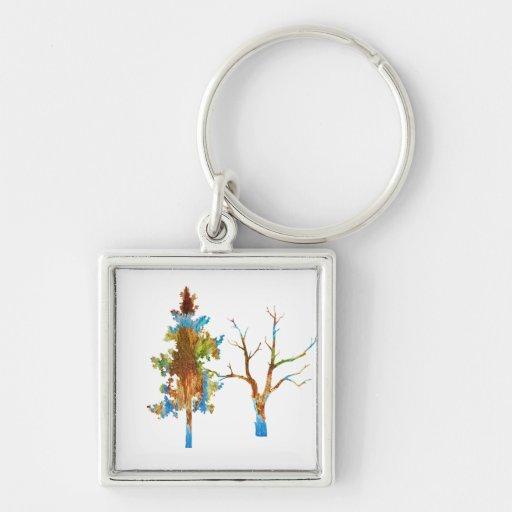 Historia del árbol de NOVINO Llavero Cuadrado Plateado