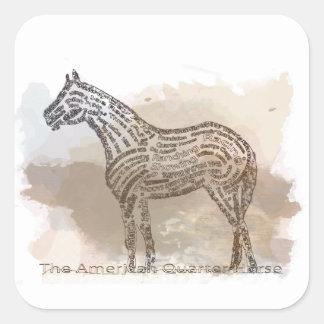 Historia del caballo cuarto americano en Typograph Pegatina Cuadrada
