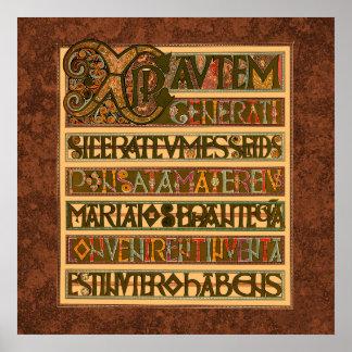 Historia del evangelio del siglo VIII de St Matthe Posters