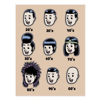 Historia del pelo para hombre tarjetas postales