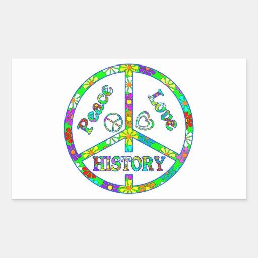 Historia del signo de la paz pegatina rectangular