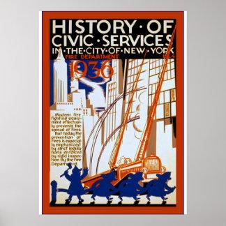 Historia del vintage cívico del ~ del ~ 4 del póster