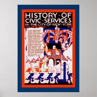 Historia del vintage cívico del ~ del fuego ~2 del póster