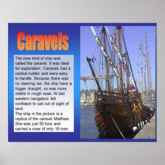 Historia, exploración, Caravels, velero Póster