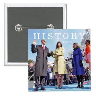 HISTORIA: Familia de Obama en la ceremonia de la i Pin Cuadrada 5 Cm