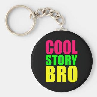 Historia fresca Bro en los colores de neón del est Llavero Redondo Tipo Pin
