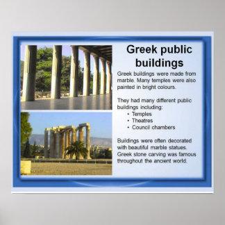 Historia, griegos clásicos, edificios públicos póster