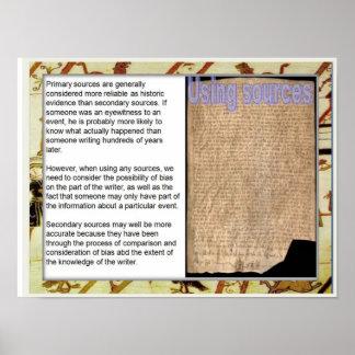 Historia, medieval, usando fuentes póster