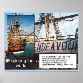 Historia, naves, explorando el esfuerzo del HMS de Póster
