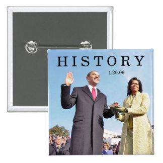 HISTORIA: Obama que jura en ceremonia de la inaugu Pin Cuadrada 5 Cm