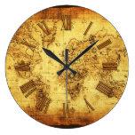 Historia-piel de ante antigua del mapa de Viejo Mu Reloj De Pared