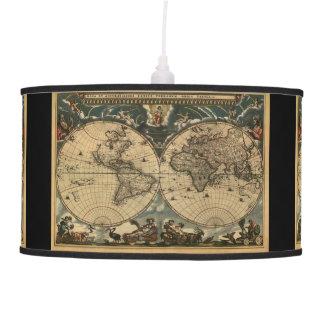 Historia-piel de ante del mapa de Viejo Mundo del  Lámpara De Techo