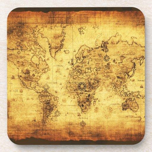 Historia-piel de ante del mapa de Viejo Mundo del  Posavasos De Bebidas