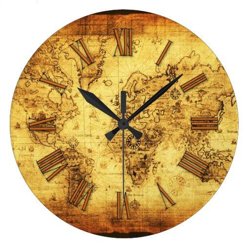 Historia-piel de ante del mapa de Viejo Mundo del  Reloj De Pared