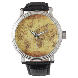 Historia-piel de ante del mapa de Viejo Mundo del Relojes De Pulsera