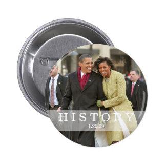 HISTORIA: Presidente Barack y Michelle Obama Pin Redondo 5 Cm