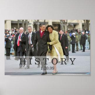 HISTORIA: Presidente y señora Obama en la inaugura Póster