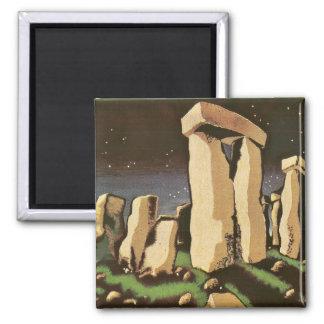 Historia retra 'Stonehenge de Sci Fi del vintage Imán Cuadrado