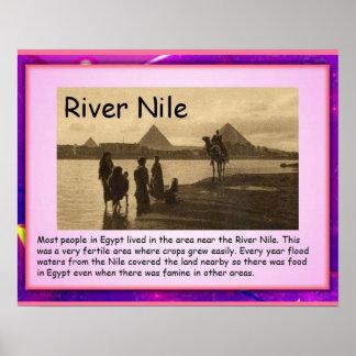 Historia, río el Nilo de Egipto antiguo Póster
