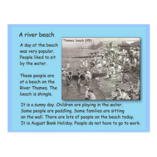 Historia, vida en 1950 s, día en la playa postales