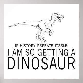 Historia y dinosaurios póster