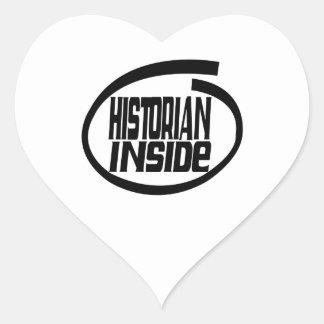 Historiador dentro pegatina en forma de corazón