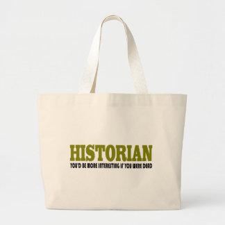 Historiador divertido bolsa tela grande
