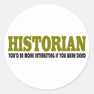 Historiador divertido etiquetas redondas