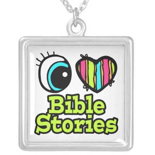 Historias brillantes de la biblia del amor del cor collares personalizados