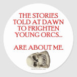 Historias contadas para asustar Orcs joven Pegatina Redonda
