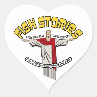 Historias de los pescados pegatina en forma de corazón