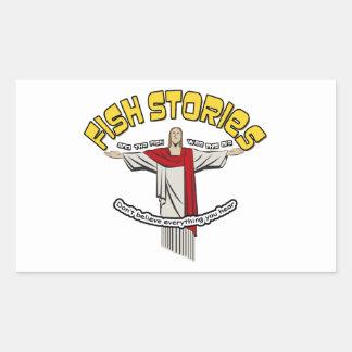 Historias de los pescados pegatina rectangular