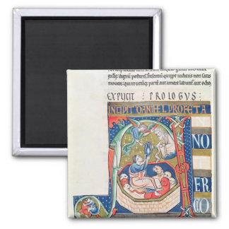 Historiated initial 'A' Depicting Daniel 2 Inch Square Magnet