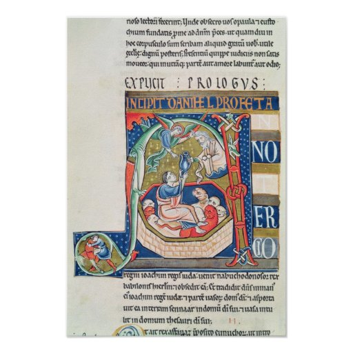 Historiated initial 'A' Depicting Daniel Poster
