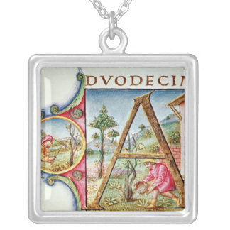 Historiated initial 'A' depicting Square Pendant Necklace
