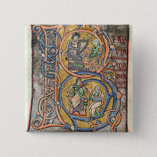 Historiated initial 'B' depicting King David Button
