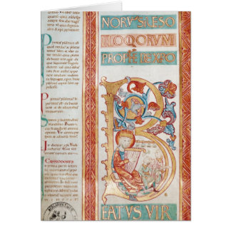 Historiated initial 'B' depicting King David Card