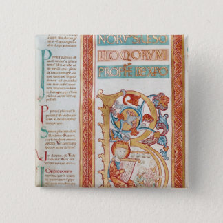 Historiated initial 'B' depicting King David Pinback Button