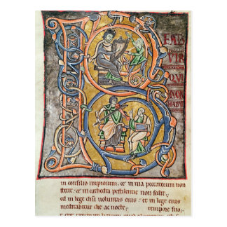 Historiated initial 'B' depicting King David Postcard