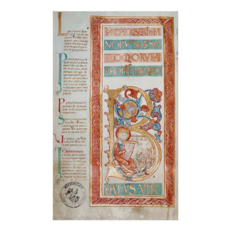 Historiated initial 'B' depicting King David Poster