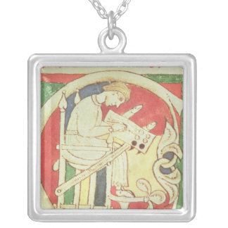 Historiated initial 'C' depicting a monk Silver Plated Necklace