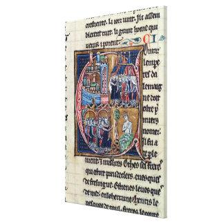 Historiated initial 'C' depicting Conrad III Canvas Print