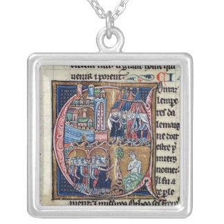 Historiated initial 'C' depicting Conrad III Square Pendant Necklace