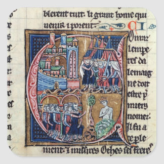 Historiated initial 'C' depicting Conrad III Square Sticker
